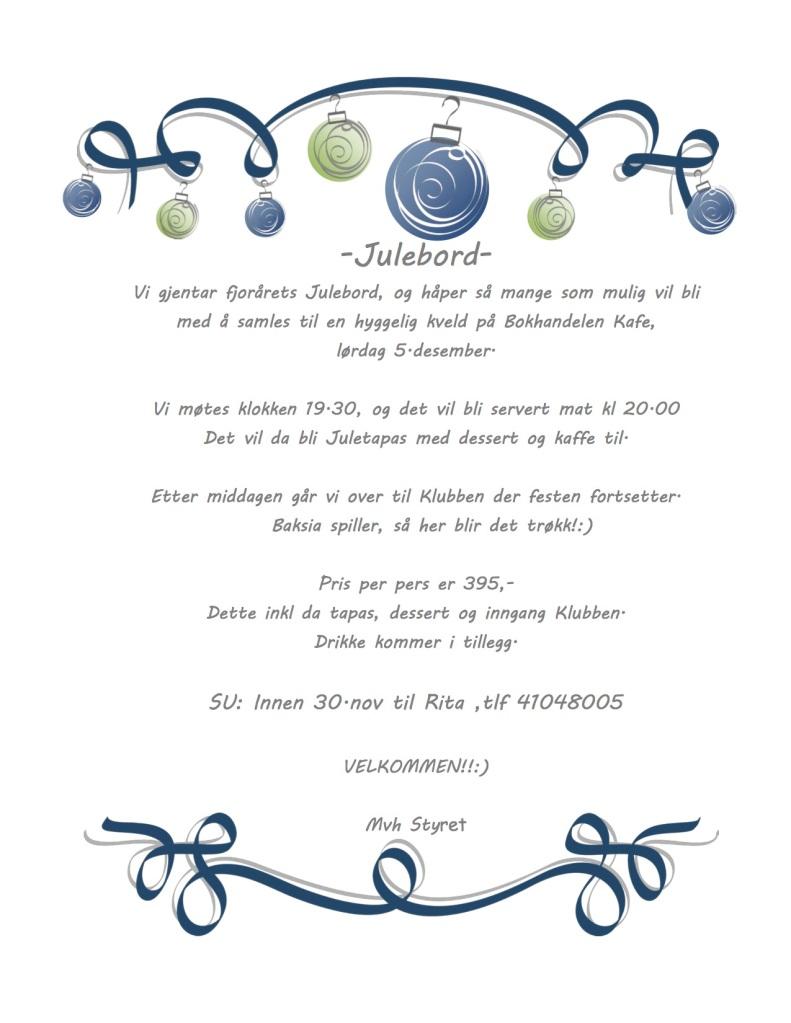 Invitasjon Julebord 2015